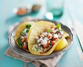 mexican authentic carnitas tacos with sour cream and corn tortilla poster