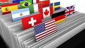 International business and global market concept with a close-up of a customer file directory with document and some international flags on tags. poster