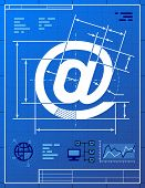 Stylized drafting of at sign on blueprint paper. Qualitative vector illustration about internet communication services information technology email telecommunication etc poster