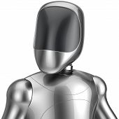 Cyborg robot android futuristic chrome bot character portrait avatar concept. 3d render isolated on white background poster