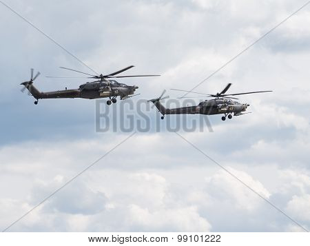 Flight Of Two Helicopters Mi-28