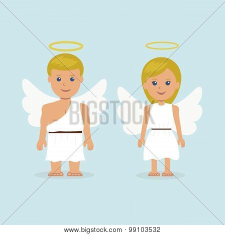 Man and a woman dressed as an angel with wings and a halo