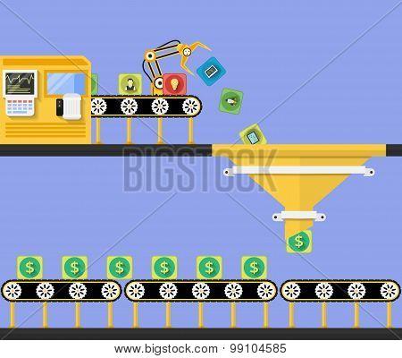 Start Up concept. Money making conveyor. Transformation into money. Vector illustration poster