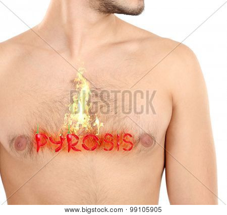 Word pyrosis made with red hot peppers on man's body, Heartburn concept