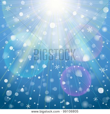 Abstract Background With Overhead Lighting And Snowfall