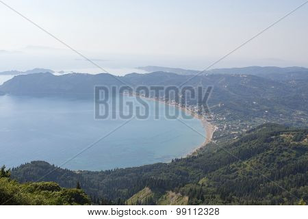Misty View At Agios Georgios Pagon Beach At Corfu Greece From Above