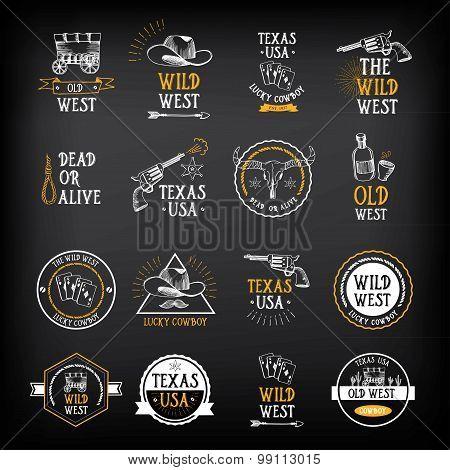 Wild west badges design. Vintage western elements.Vector with gr