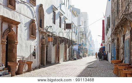 Misty  morning in shopping street,  Medina of Essaouira, Morocco