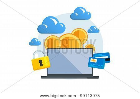 Isolated Flat Color Vector Illustration On Light Background. Concept Electronic Commerce. Mining Bit