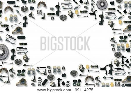 Spare parts car on the white background set poster