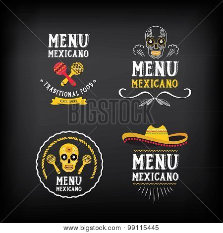 Menu mexican logo and badge design. Vector with graphic.