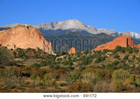 garden of the gods with pikes peak poster