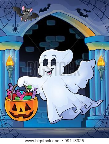 Wall alcove with Halloween ghost - eps10 vector illustration.