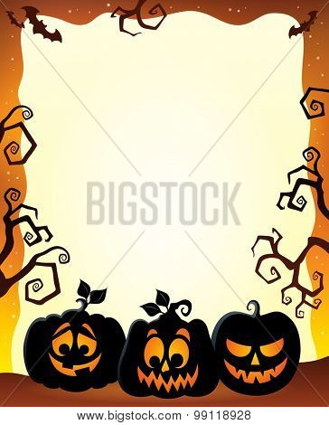 Frame with Halloween pumpkin silhouettes - eps10 vector illustration.