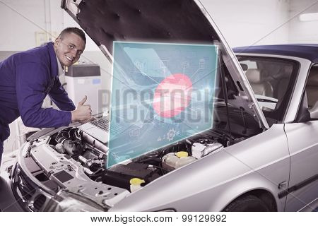 Engineering interface against mechanic leaning on a car engine