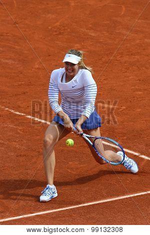 Five times Grand Slam champion Maria Sharapova during first round match at Roland Garros 2015