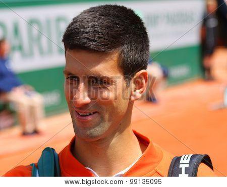 Eight times Grand Slam champion Novak Djokovic during third round match at Roland Garros 2015