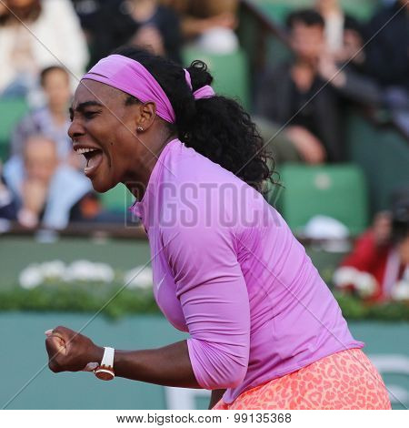 Nineteen times Grand Slam champion Serena Willams in action during match at Roland Garros 2015