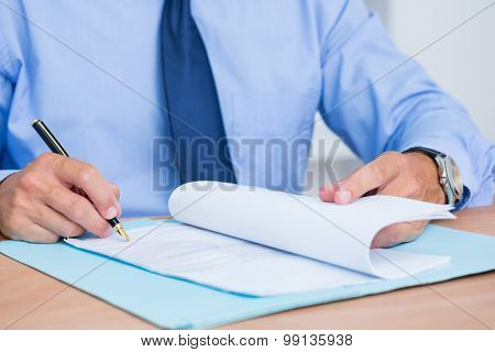 Smiling businessman reading a contrat before signing it in the office