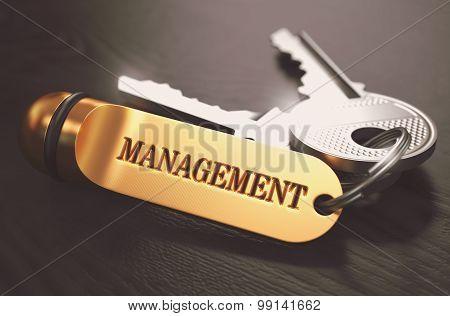 Management Concept. Keys with Golden Keyring.