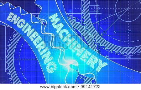 machinery engineering on Blueprint of Cogs. Technical Drawing Style. 3d illustration with Glow Effect. poster