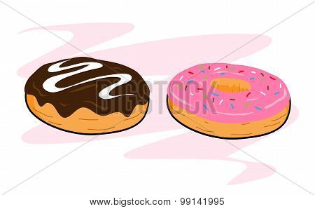 A hand drawn vector illustration of chocolate and sugar glazed donuts, isolated on a simple background (editable). poster