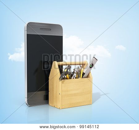 Concept Of  Technical Service And Repair Phone. Wooden Box With Tools Near Phone On A White Backgrou