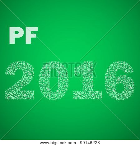 Green Happy New Year Pf 2016 From Little Snowflakes Eps10