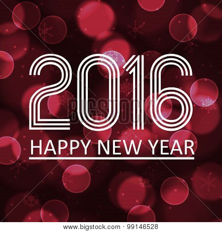 Happy New Year 2016 On Dark Bokeh Circle Background Eps10