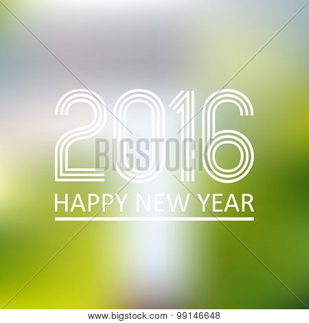 Happy New Year 2016 On Blur Abstract Background Eps10