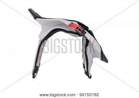 Side view of Used white bike neck brace