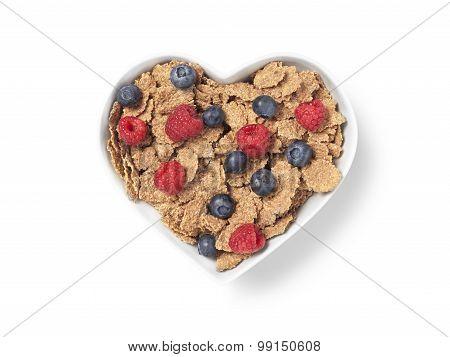 Heart Shaped Bran Cereal Berries - Stock Image
