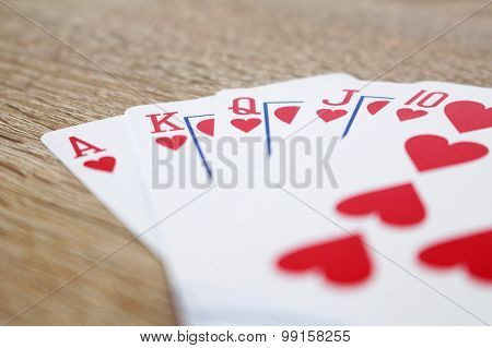 Winning Poker Game With Royal Straight Flush