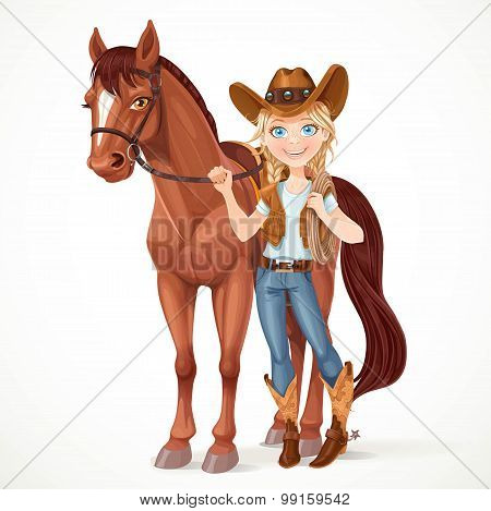 Teen Girl Dressed As A Cowboy Holds The Reins Saddled Horse Isol