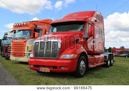Red Peterbilt Truck In A Show