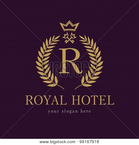 R company logo. Luxurious hotel. Coat of arms, gold colored round royalty classic symbol template. Decorative traditional branch of grapes in circle, keys and crown. Framed of palms branches icon.