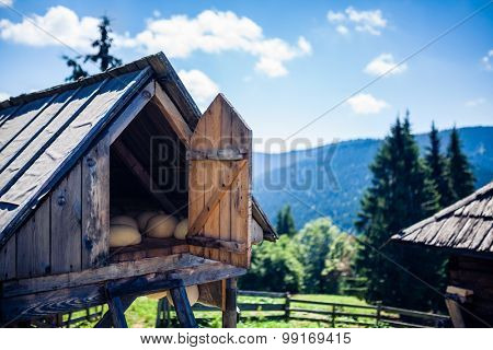 Traditional cheese making sheepfold in Romania details