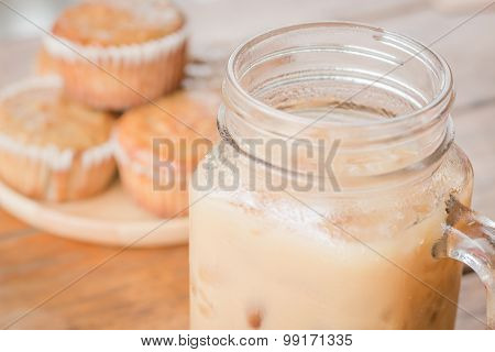 Banana Muffins And Iced Coffee