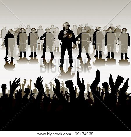 Police in full riot gear charge on protesting people. Vector illustration poster