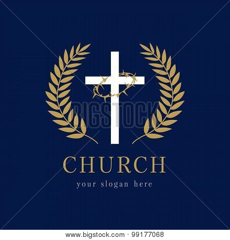 Church logo template. Religious vector christian symbol. It is finished. Crucifix, thorns of spines, glorious wreath. Round framed of palms icon gold colored with crucifixion, laurel branches.