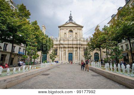 Place de la Sorbonne in front of Eglise de la Sorbonne in Paris