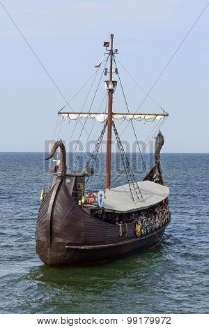 MIEDZYZDROJE - AUGUST 16: Touristic ship