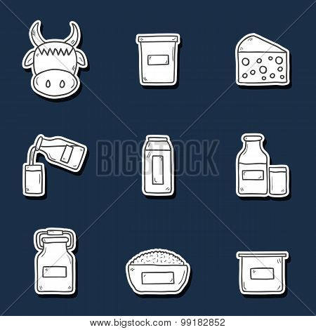 Set of cute hand drawn stickers with products containing lactose. You can use it for your fresh milk
