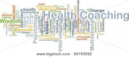 Background concept wordcloud illustration of health coaching