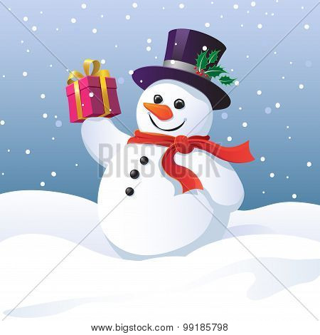 Snowman in a top hat and scarf carrying a gift
