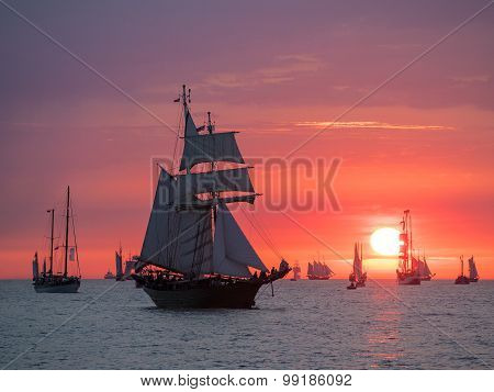 Sailing ships on the Baltic Sea in Rostock (Germany). poster