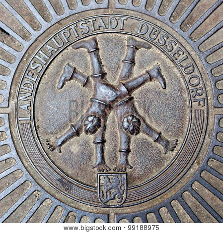 DUSSELDORF, GERMANY - JULY, 2015: Emblem of famous Dusseldorf cartwheelers