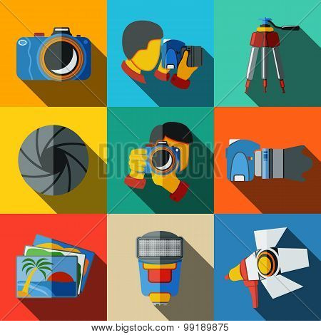 Photographer colorful flat icons set on bright squares, with - shutter, camera, photos, shooting pho