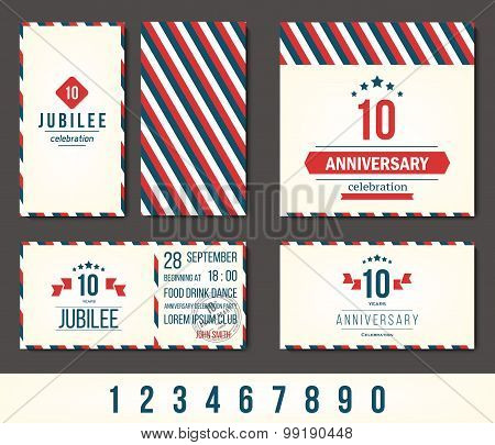 Anniversary 5th, 10th, 20th, 30th, 40th, 50th, 60th invitation card. Vector illustration. poster