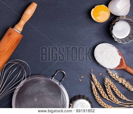 Ingredients And Untensil For Baking